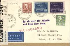"""(Sweden) World War II dual censored flown cover to USA, bs Rahway, NJ Jun 10, franked 80o canc Stockholm cds, red straight line """"Via England"""" and violet """"By Air over the Atlantic/and from New York"""" hand stamps, sealed on one side with plain brown censor tape, and on another side with British PC90 OBE 5347 censor tape. ABA/BOAC to Scotland, KLM/BOAC to Lisbon, Pan Am FAM 18 to USA, see Boyle p368. Nice instructional hand stamps."""