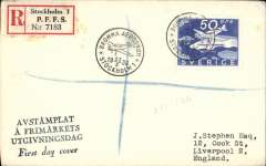 (Sweden) Opening of Bromma Airport, Stockholm to England, no arrival ds, reg (label) souvenir cover franked FDI 50o commemorative stamp tied special Bromma Aerodropme depart ds.