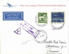 (Sweden) F/F Stockholm to Moscow, b/s, red/cream 'Stockholm-Riga-Moskva' souvenir cover franked 60 ore, Aeroflot.