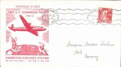 (Sweden) F/F FAM 24  Stockholm to Oslo, bs 7/4, official red/white souvenir cover franked 20 ore, American Overseas Airlines