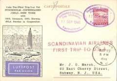 (Sweden) First SAS trip to USA, Stockholm to New York, Sep 19 1946 arrival ds on front, printed souvenir 'FF Stockholm-Copenhagen-Oslo-New York' PC, frfanked 60 ore, red two lline flight cachet, b/s, illustrated souvenir card.