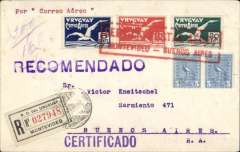 """(Uruguay) Montevideo to Buenos Aires, bs 10/3, registered (label) airmail cover franked 1926 6c, 10c, & 20c imperf airs + 10c ordinary, canc fine strike large red framed """"Servicio Postal Aereo/Montevideo-Buenos Aires"""" undated cachet, registration label canc Montevideo 10/3 cds."""