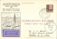 (Denmark) First SAS trip to USA, Copenhagen to New York, SEp 19 arrival ds on front, large red two line cachet, illustrated souvenir PC franked 1K.