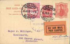 "(South Africa) Late, if not the last flight, Govt. Experimental Airmail Cape Town to Pretoria, no arrival ds, 1d PSC with additional 1d ordinary and 1d air stamp, canc ape Town 13 Jun 25 cds, violet dr ""SA Air Mail/SA Lugpos/13 Jun 1925"" cachet. Service terminated on June 15th."