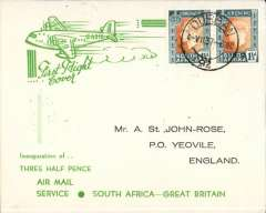 (South Africa) F/F First Stage EAMS, Cape Town to London, bs Yeovil 12 Jly 37 cds, attractive green/cream souvenir inaugural cover, franked 2 x 1 1/2d GVI, Imperial AW.