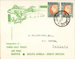 (South Africa) F/F First Stage EAMS, Cape Town to London, no arrival ds, green/cream souvenir inaugural cover, franked 4 x 1 1/d GVI, Imperial AW.