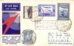 (Greece) Imperial Airways/ITCA, F/F Athens to Singapore, no arrival ds (see Goddard p85), red/white/blue 'Speedbird' souvenir cover franked 38d, canc Athens cds, violet framed Greek/English 'Par Avion' hs. Only 50 flown.