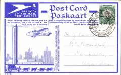 "(South Africa) Johannesburg to Uganda, no arrival ds,  Johannesburg Philatelic Exhibition, special card franked 1/2d, canc special Expo cancel, with b&w picture verso of IAW plane ""Amalthea"" on tarmac at Rand Airport."