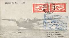 (Portugal) F/F FAM 18 Southern North Atlantic route, Lisbon to Marseille, bs 22/5, attractive and uncommon grey/pale grey souvenir cover franked $1.75 x2, blue flight cachets verso, Pan Am.