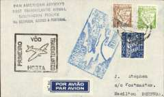 "(Azores) Rare acceptance of mail from Azores for Bermuda for carriage over the Pan Am Southern Route, Horta to Hamilton, bs 31 May 35, via New York , May 27, airmail etiquette cover franked 5E75, weak postmark tying square blue FAM 18 type F18c cachet applied primarily to Horta-New York mail, black four line ""Pan American Airways/First Transatlantic Airmail/Southern Route/via Bermuda, Azores and Portugal"" and black framed ""Premier/Voo/Transatlantico/Horta"" flight cachet,"