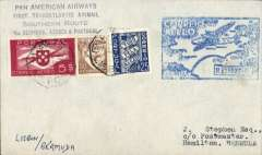 "(Portugal) Rare acceptance of mail from Portugal for Bermuda for carriage over the Pan Am Southern Route, airmail etiquette, Lisbon to Hamilton, bs 31 May 35, via New York, May 27, airmail etiquette cover franked 5E75, canc Lisbon 26 May 39, square blue FAM 18 type F18c cachet, black four line ""Pan American Airways/First Transatlantic Airmail/Southern Route/via Bermuda, Azores and Portugal"", ms 'Lisbon/Bermuda'."