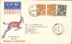 (Northern Rhodesia) F/F Mpika to London, 17/2 Anglesey arrival ds on front, carried on the first regular flight from Cape Town to London, Springbok souvenir cover franked KGV 6d, 2d x2, Imperial Airways. Flight interrupted at Broken Hill.