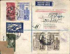 (Portugal) Lisbon to London, 7 Aug 40 arrival oval regn. ds on frontregistered (hs) cover franked 5.46E, canc Lisbon cds, no arrival ds, blue/white M 511 airmail etiquette, sealed GB PC90 OBE 714 censor tape.  Carried on the new the new England-Portugal Air Service which opened on 7 June 1940.
