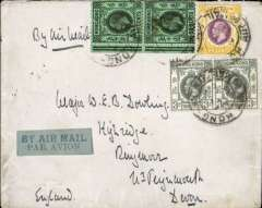 "(Hong Kong) Hong Kong to England, no arrival ds, The East Lancashire Regiment cover with blue embossed ""Spectamur Agendo"" coat of arms on flap, franked 136c, blue/pale blue airmail etiquette, ms 'By Air Mail'."