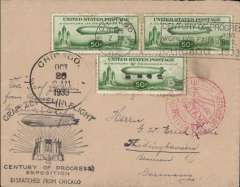 "(Airship) Century of Progress Flight, US Dispatches, Airship ""Graf Zeppelin"", Chicago to Germany, Friedrichshafen, bs green 2/11machine ds, franked 3x US Zeppelin 50c (C18) canc Chicago cds, black ""Graf Zeppelin Flight/Dispatched from Chicago"" cachet, red circular 'Mit Luftpost Befordert/Postampt/Hannover arrival ds. One or two faint tone spots on stamps - see scan."