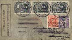 """(Airship) Lloyd Aereo Boliviano/Syndicato Condor/Graf Zeppelin, 2nd S. American flight, La Paz to Friedrichshafen 13/4, and on to Berlin 13/4, plain cover franked 1.75B, canc La Paz cds, violet framed """"Primer Correo Aereo/Graf Zeppelin"""" hs, faint strike red circular """"Luftpost Befordert/Luftpostampt/Berlin C2"""" arrival hs. Carried by LAB from Cochabamba to Puerto Suarez, Condor from Corumba -Campo Grande-Tres Lagadas Rio-Bahia-Recife, Graf Zeppelin to Friedrichshafen. Somewhat scruffy, and closed 1cm tear lh edge."""