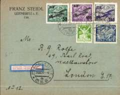(Czechoslovakia) Early Cie Franco-Roumaine de Navigation Aerienne, Prague to London, no arrival ds, Steidl commercial corner cover franked 1922 air surcharge set of 3 on cover (+additional 250H ordinary stamps) , orange red/grey blue/white etiquette CSR-A-1, rated a great rarity by Mair.Early item in superb condition, and tied by 'Praha-Lettiste/26 VIII 24/CSP' cds. Nice item.
