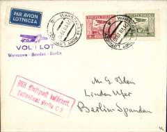 (Poland) CIDNA, F/F Warsaw to Berlin, bs 21/7, also fine strike red framed 'Mit Luftpost/Lufpostamt Berlin C2', plain cover franked 30G and 20G airs, violet F/F flight cachet.