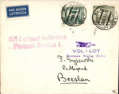 (Poland) CIDNA, F/F Warsaw to Berlin, fine strike red framed 'Mit Luftpost/Lufpostamt Breslau 1', plain cover franked 10G and 20G airs, violet F/F flight cachet.
