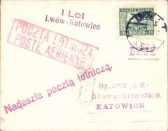 (Poland) LOT, F/F Lwow to Katowice, bs 8/1, plain cover franked 10G air, fine strike bilingual 'By Airmail' hs, and red straight line 'By Airmail' hs, red two lkine F/F flight cachet. Scarce.