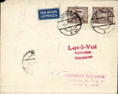 (Poland) LOT, F/F Katowice to Warsaw, bs 8/1, plain cover franked 10G air, red three line F/F flight cachet.