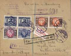 "(Poland) CFNA, Express airmail, Warsaw to England, no arrival ds, plain cover franked 4400M, canc Warsaw cds, black framed ""Express Fee Paid 6d"", violet framed ""Percu Express  (ms) 1200"" and vioet framed ""Par avion"" hs's, ms Par Avion a Strasbourg, Carried by CFRNA, the French-Romanian Company for Air Transport,  Compagnie franco-roumaine de navigation aיrienne""."