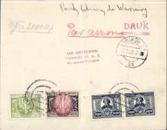 (Poland) Aerolloyd, F/F Krakow to Warswa, bs 7/8, plain cover franked 3000M, ms 'Par Avion', red framed 'Arrived by ir Mail' hs (in Polish).