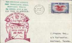 (United States) F/F FAM 18, New York to Shediac, cachet, b/s, air cover franked 6c, Pan Am