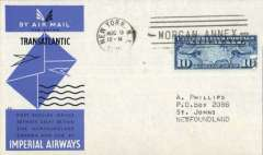 (United States) New York to Botwood, bs 10/8, carried on Imperial Airways first return Trans-Atlantic flight, official blue/grey cover franked 30c.