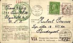 """(United States) Endres and Magyar """"Justice for Hungary"""" flight from New York to Hungary with a stop at Harbour Grace, Newfoundland, specially printed card with an imprinted stamp of $1 with an additional US 6c ordinary stamp, postmarked Flint, Mich, May 14 1931 machine cancel, appropriate green circular and three line flight cachets and  special green Budapest Jul 16, 1931 arrival ds's on the front.  AAMC, TO 1144. Two very faint bends, not visible from front - see scan."""
