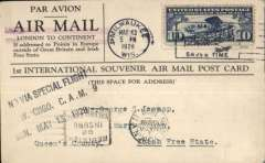 """(United States) PPC flown from Milwaukee to Chicago commemorating the pioneer flight from, Ireland-Labrador in Junkers 'Bremen', franked 10c air, posted in Milwaukee May 13 cds, New York 14/5 machine cancel, violet double bar Jusqu'a applied in New York, black 4 line """"Send Via/Special Flight/Millw.-Chgo.CAM 9/Sun. May 13, 1928"""", verso  head and shoulders pictures of Kohl, von Huneford and Fitzmaurice, printed """"In Commemoration Reception German-Irish Bremen/Flyers, Milwakee, Wisonsin, May 13-14, 1928"""""""
