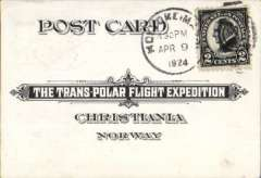 """(United States) The Trans Polar Flight Expedition In commemoration of Emundsen's-Ellsworth Polar Flight,   small-sized card postmarked Apr 9, 1924 was sent from ?Hoyyokeim tying 2c Harding to Christiana, Norway headquarters of the Trans Polar Flight Expedition. The reverse has provision for a message sent from """"North Pole Mail"""", and for the address as well as the name of the sender. This card was returned to Springfield, Mass and bears Norwegian 5o and 25o stamps."""