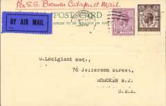 """(Ship to Shore) London to New Jersey, USA, bs Foreign Section/ M.D.G.P.O. (Mail Division General Post Office, New York), Dalwick PC franked 7 1/2d, canc London S.W./Aug 14, ms """"Per SS Bremen Catapult Mail"""", untied dark blue/black airmail etiquette. The year of posting is illegible, but there is an ms '1929' verso."""