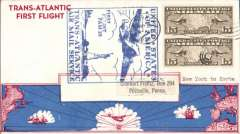 (United States) Pan Am F/F FAM18 Southern North Atlantic route, New York to Horta, Azores, bs 21/5, official cachet, attractive and uncommon airmail cover franked 30c air.