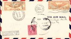 """(United States) Monteverdi attempted flight from New York to Rome, rectangular cachet """"This is one of 500 letters placed aboard the Francesco D CS-AAK at Floyd Bennett Field June 1935"""", also Notary attested seal, b/s Brooklyn Jun 22, airmail cover."""