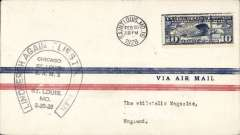(United States Internal) Lindbergh Flies the Mail on CAM 2, F/F  St Louis to Chicago, Lindbergh horseshoe cachet, and on to New York bs 21/2. Francis Field authentication hs.