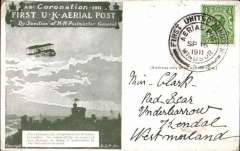 (GB Internal) Coronation Aerial Post, public mail, olive green Windsor to London card, addressed to Kendall, Westmorland, posted from Windsor, die number 2 cancel.