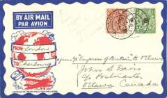 "(GB External) The St. Lawrence Seaway Airmail Service, Imperial Airways service for the Ottawa Conference, atractive red/white/blue PhilatelicMagazine cover, franked 2 1/2d, London to Ottawa, bs 18/7, carried by from London to Cherbourg by Imperial Airways plane ""Wessex"", from Cherbourg to Red Bay by the ""Empress of Britain"", and onward by seaplane from Strait of Belle Isle.  Reduced normal sea voyage time by 1/3rd.  See Newall 32.17."