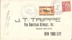 (Panama) F/F FAM 5, Panama to Miami and on to New York, bs, cachet, printed cover addressed to JT Trippe, Pan Am AW, flown  by Lindburgh,Pan Am