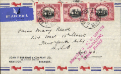 "(Bermuda) F/F Hamilton to New York, red three line "" Bermuda to US Service RMA Cavalier First Flight"" cachet, b/s, attractive souvenir cover, Imperial Airways"