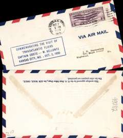 (United States Internal) Costes and Bellonte Good Will Tour, Kansas City commemorative cover, postmarked Oct 2, 1930.
