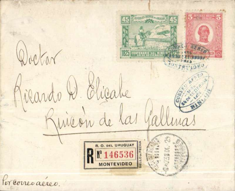 (Uruguay) F/F Montevideo to Rincon, franked 50c inc Battle of Rincon 45c only available on cover and for this flight, canc blue oval special FDI postmark, registered (label) cover, Muller #13.