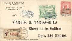 (Uruguay) F/F Montevideo to Rincon, franked 50c inc Battle of Rincon 45c only available on cover and for this flight, canc blue oval special FDI postmark, registered (label) cover, bs 26/9, Muller #13.