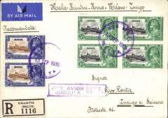 """(Malta) Malta to Zurich, bs 15/9, via Roma Ferrovia 14/9 and Amb Roma-Pisa-Milano 151 14/9, registered (label) cover franked S.J 2 1/d x2 and 1/2d x4, canc  Valetta/Air Mail/13 Sep 1935, fine strike violet framed """"Par Avion/Jusqu'a/ Rome, carried airmail only as far as Rome. Correctly rated 4d air to Rome and 3d registration fee. A particularly attractive item, with great routing and in fine condition."""