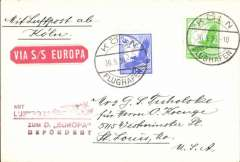 (Ship to Shore) German North Atlantic Catapult Service to New York, franked German stamps canc Europa twin circle seapost handstamp, red flight cachet, original red boxed catapult route handstamp, blue/white airmail etiquette, NDL company cover with logo on flap.