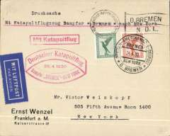 (Ship to Shore) German North Atlantic Catapult Service to New York, franked 55pf German stamps canc Europa twin circle seapost handstamp and Machine 'Flag' cancel, official '29.4.1930' red flight cachet, original red boxed catapult route handstamp, blue/white airmail etiquette, Wenzel company cover.