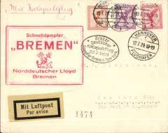 (Ship to Shore) North Atlantic Catapult, Bremen-New York cover, landpost, franked 75pf canc Hannove/Flughafen cds's,  oval black first flight/2.7.29, and large boxed red Bremen cachets.