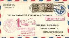 """(Ship to Shore) German N. Atlantic Catapult, first eastbound from Europa, cover to Berlin, red circular Berlin C2 Luftpost receiver, 5c US PSE withADDITIONAL 15c air, canc Varick St cds, red """"Deutscher Katapultflug/ D, Europa/Southampton AM 21. September 1930"""" flight cachet, red """"Mit Katapultflug"""" hs, black/green blue etiquette."""