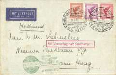 """(Ship to Shore) German N. Atlantic Catapult, eastbound from Europa to Bremerhaven via Southampton, company cover with NDL logo on flap franked 75pf, canc fine strike Deutsche Amerikanische Seepost/D Europa/28.8.31, green """"Deutscher Schleuderflug/ D, Europa/Southampton /30.8.1931"""" flight cachet, red framed  """"Mit Vorausflug nach Southampton"""" hs. The green Europa cachet has the missing """"R"""" of """"Schleuderflug"""" - the only know error of this cachet. Ironed vertical crease."""