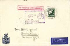 """(Ship to Shore) Special Nord Deutscher Lloyd envelope bought and posted on board tthe Bremen,  flown from SS Bremen into Southampton, 50pf 28c canc Bremenn double ring on board cancel, violet """"Deutscher Schleuderflug/Bremen-Southampton/15.5.35"""" flight cachet, red framed directional hs,"""